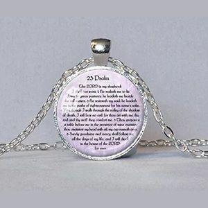 Bible scripture necklace Psalm 23 spiritual NEW